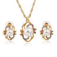 New Jewelry Sets For Women Fine Accessories Wedding Bridal Pendant Statement Necklace Earrings(China)