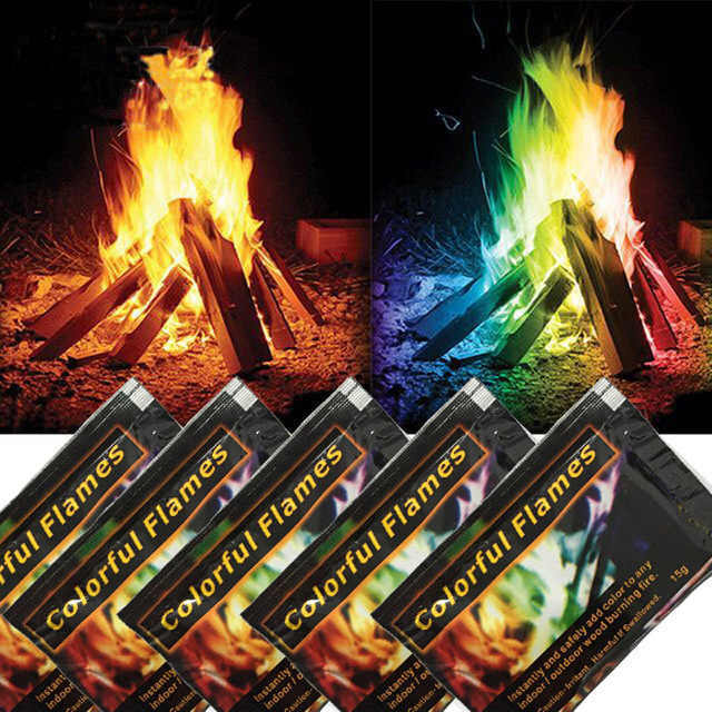 5pc Fire Magic Tricks Mystical flames colorful fire Jokes powder Toy Magicians Pyrotechnics Bonfire Sachets Fireplace Campfire