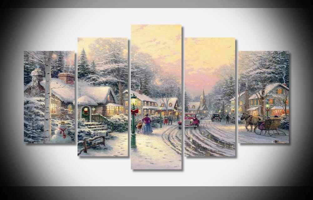 9944 Thomas Kinkade Tomas village christmas Oil Painting Print with ...
