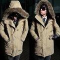 Hot 2015 hombres de paño con capucha de piel abrigo largo invierno prendas de vestir exteriores del espesamiento calentamiento chaquetas de lana abrigo de algodón