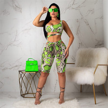 New Womens Summer Sexy Serpentine Shinny Tube Top Shorts Bodycon Two Piece