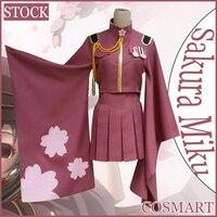 STOCK Wig Hat Anime Vocaloid Sakura Miku Kimono SJ Uniform Halloween Cosplay Costumes For Women