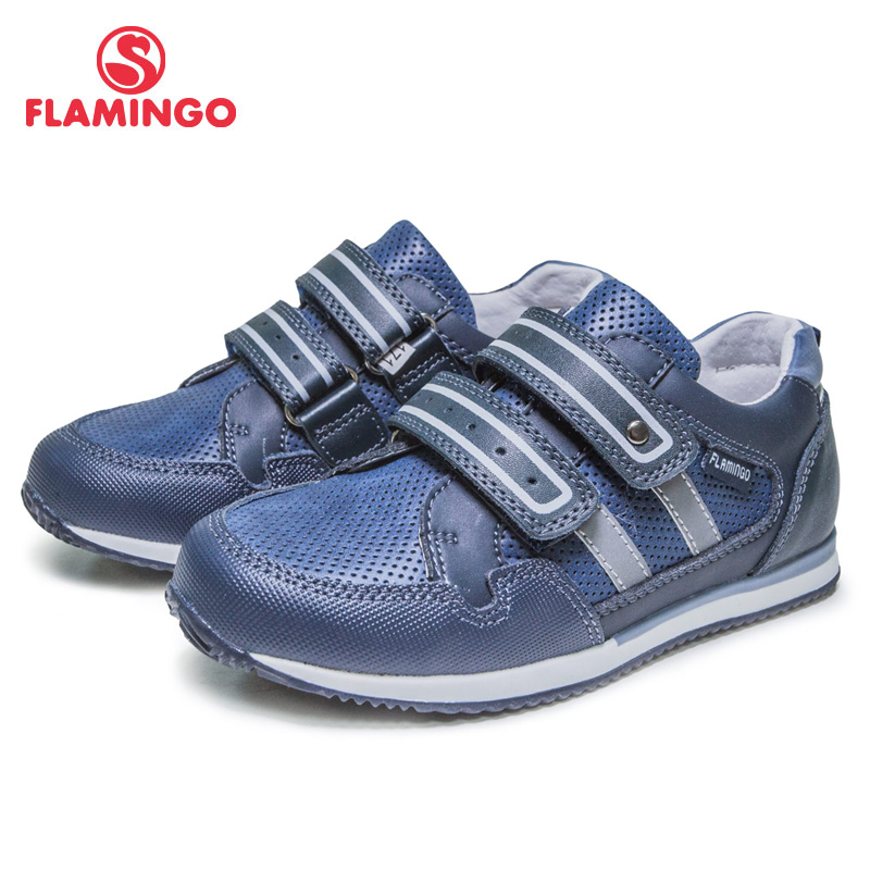 FLAMINGO Breathable Hook& Loop Patchwork Spring& Summer Outdoor Casual Shoes For Boy Size 28-33 Free Shipping 81P-XY-0665
