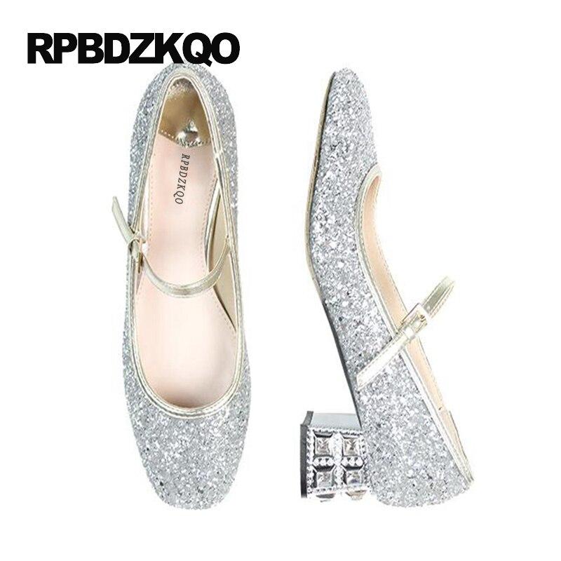 Silver Bridal Crystal Pumps Medium Glitter High Heels Rhinestone ...