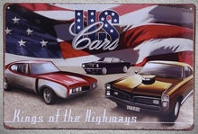 1 pc US cars muscle America Garage repair mechanic kings highway Tin Plates Signs wall Shop Decoration Art Poster metal vintage