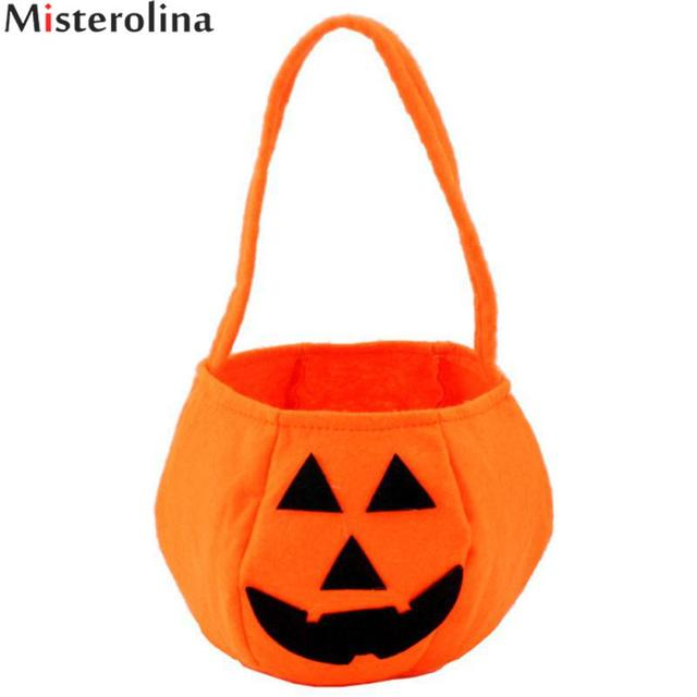 Foldable Candy Smile Pumpkin Bag Folding Personality Gift Basket Wacky Expressions Treat Or Tricky