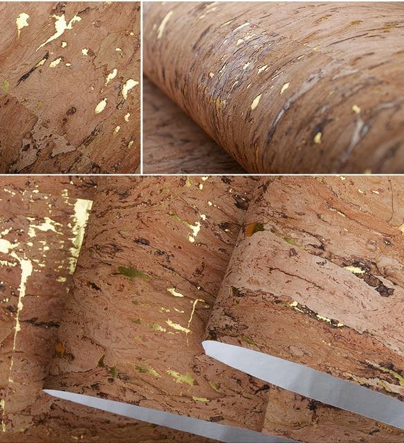Natural Color Cork Wallpaper For Home Decor Gold Foil