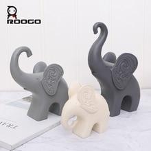 Roogo Nordic Elephant Family Ornaments For Home Cute Animal Decor Resin Miniature Figurines Garden