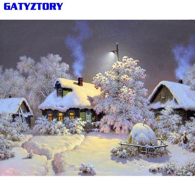 GATYZTORY Neve Paisagem Pintura Diy Por Números Digitais Pintura Caligrafia Pintados À Mão Retrato Da Arte Da Parede Para Home Decor 40x50