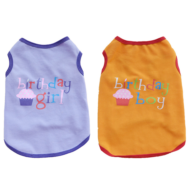 Birthday Pet Dog Clothes Summer Shirts For Dogs Pets Clothing Vest Chihuahua Yorkshire Puppy Cat In Coats Jackets