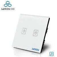 SANKOU New Switch 315HZ Ivory White Crystal Glass Panel AC220V 110V 2Gang1Way UK Remote Wall Light