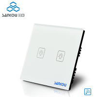 SANKOU New Switch 315HZ Ivory White Crystal Glass Panel AC220V 110V 2Gang1Way UK Remote Wall Light