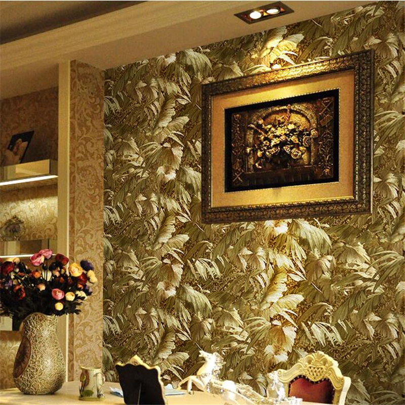 beibehang European bright gold metal reflective plant wallpaper living room luxury TV bedside background wallpaper gold