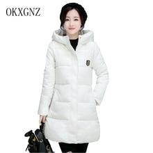 OKXGNZ Women Cotton Coat 2017 New Korean Version Large size pure Color Women Coat Medium Long