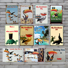 Toucan Plaque Sign Vintage Metal Tin Signs Wall Poster Decals Plate Painting Bar Club Pub Home Decor 30*20cm