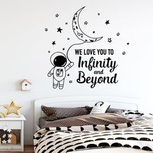 Cute space Wall Sticker Removable Self Adhesive Watercolo Decor Living Room Bedroom Removable Wall Art Decal цена