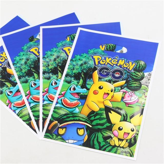 Gift Bag 10pcs Lot Plastic Pokemon Go Theme Party Loading Happy Birthday Decoration Supplies Kids Favor