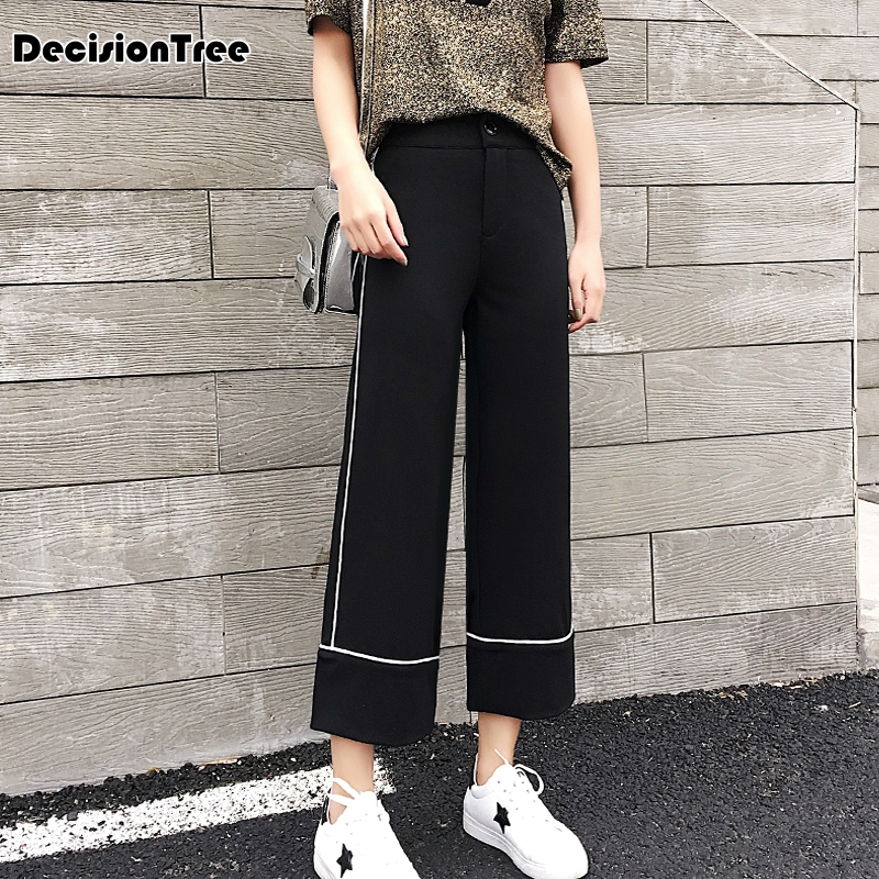 2019 new women pants wide leg pants female trousers full length high waist loose fit drawstring three available 3
