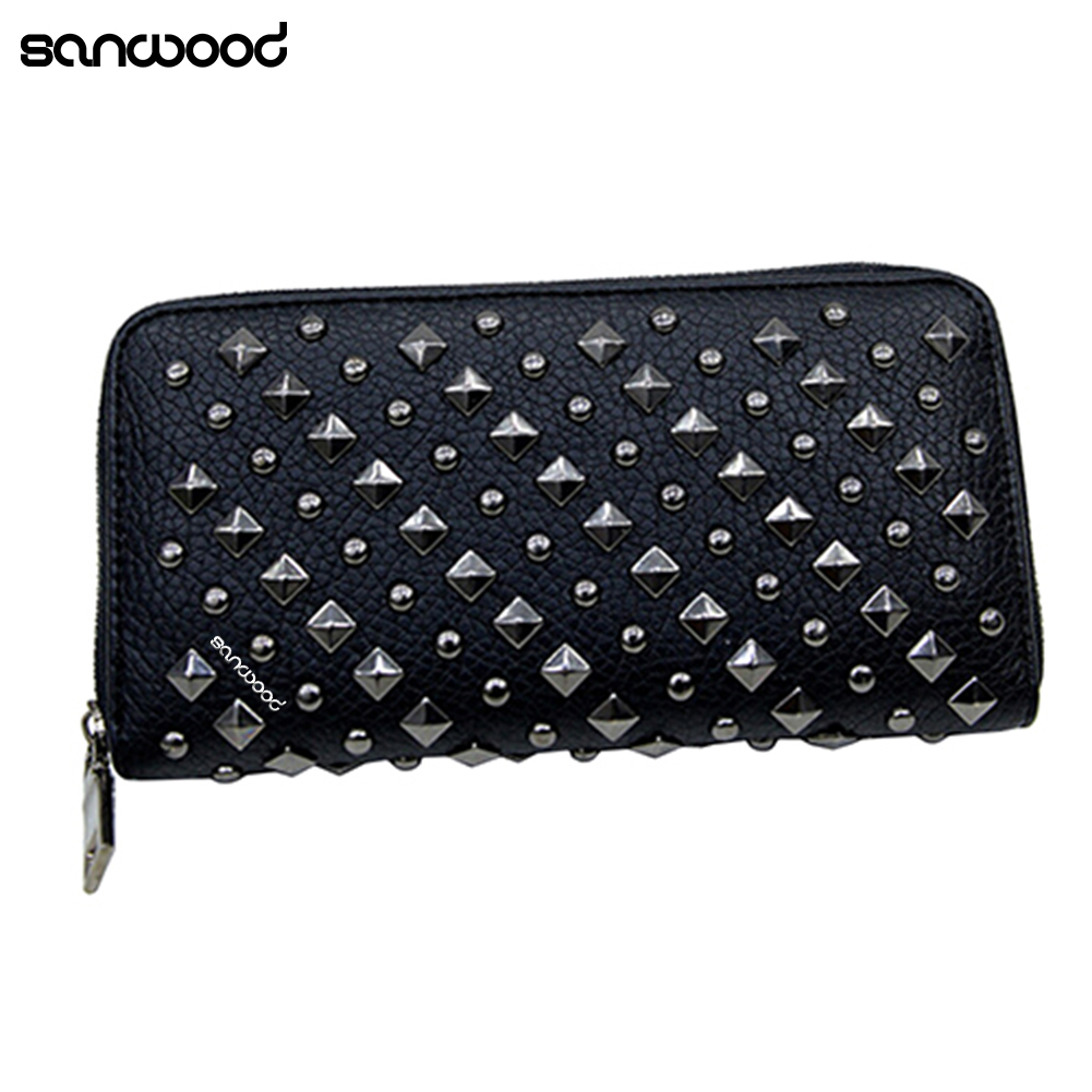 Women Punk Style Faux Leather Clutch Wallet Long Rivet Card Holder Purse Handbag 9XYH casual weaving design card holder handbag hasp wallet for women