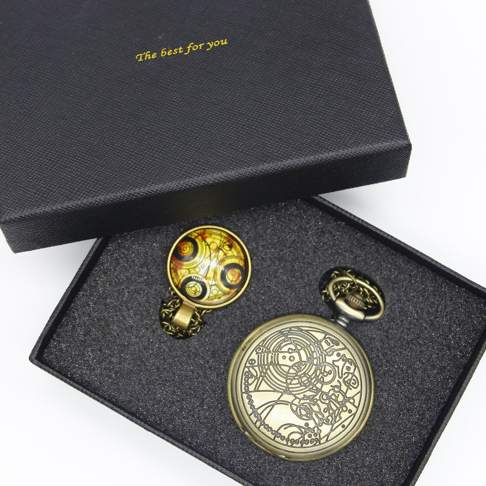 Bronze Color Doctor Who Theme Antique Pocket Watch With Dr. Who Symbols Design Glass Dome Pendant Necklace With Gift Box