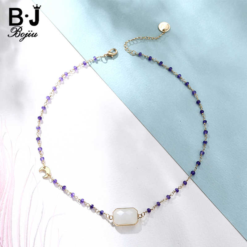 BOJIU Trendy Necklace Handmade Purple Beaded Chain Retangular Opal White Connector Mini Moon Decration Fashion Jewelry NKS143