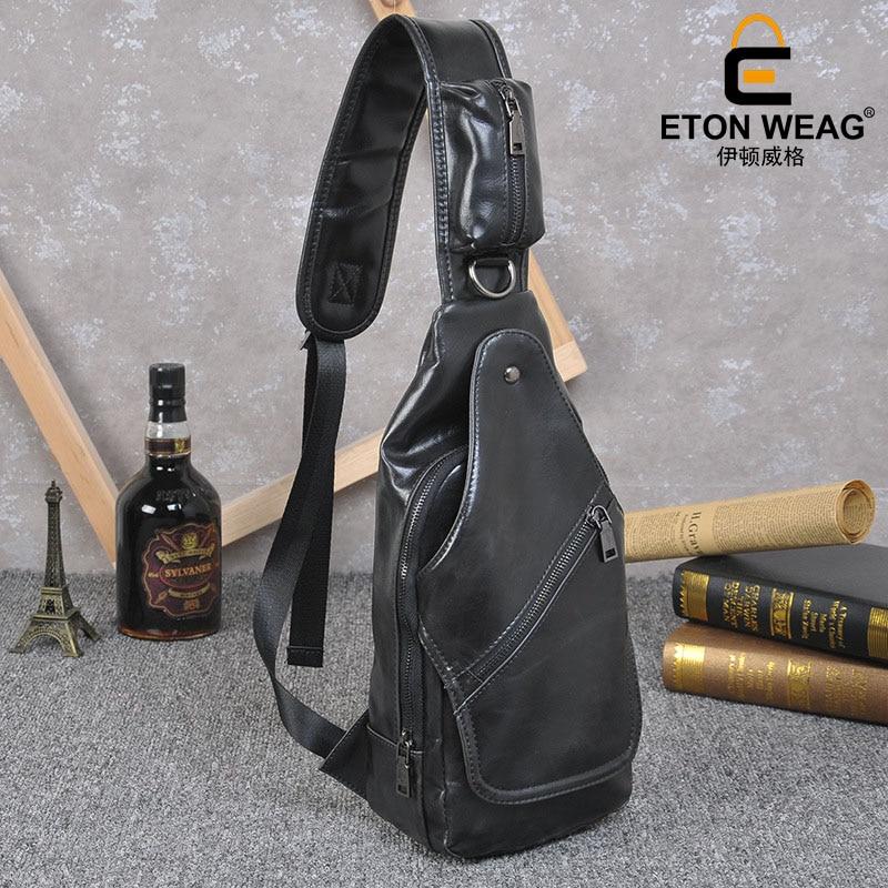 ETONWEAG Brands Cow Leather Belt Bag Men Travel Bags Black Zipper Chest Bags Vintage Designer Fanny Pack Organizer Sling Bag