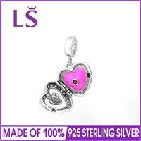 LS 100 925 Sterling Silver Pink Enamel Heart Charm Beads Fits European Charms Bracelet Aliexpress Superdeal