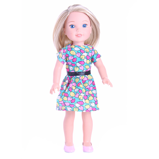 Colorful Leaves Print Party Dress for 14\'\' American Girl Wellie ...