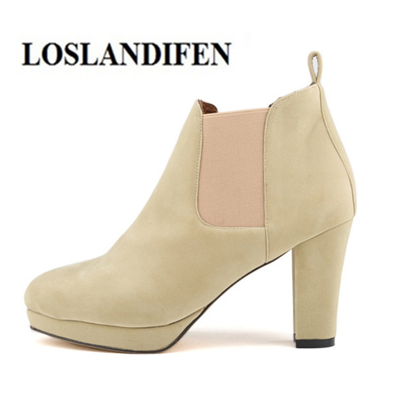 LOSLANDIFEN Women Boots Faux Suede 8.5cm Block High Heel New Winter Lady Platform Ankle Boot Round Toe Bootie Femme Dress Shoes fashionable color block faux diamond decorated round neck sleeveless women s bodycon dress