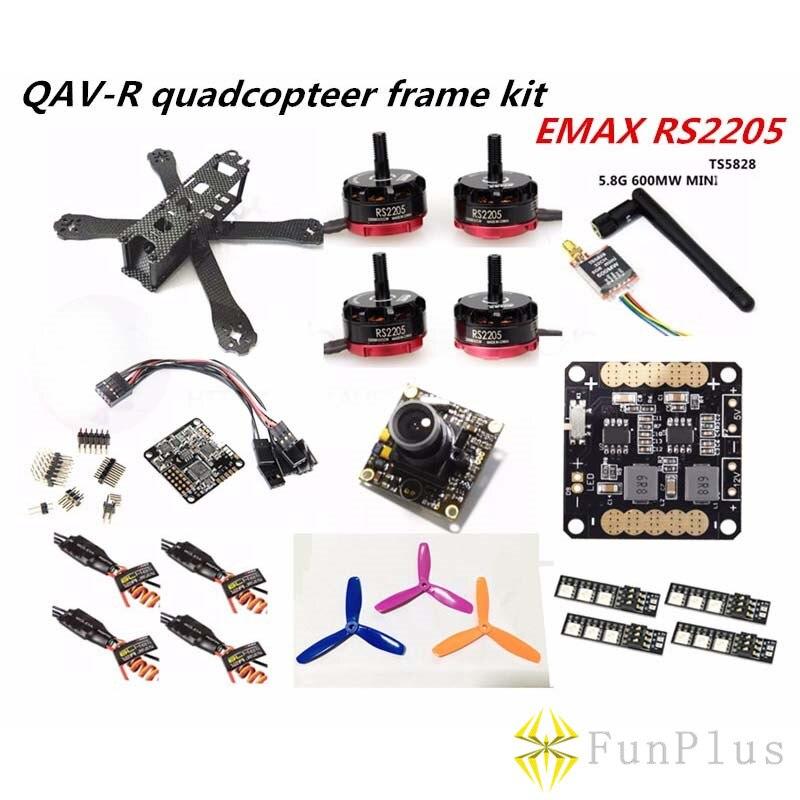 Mini Drone avec caméra QAV-R quadrirotor 4x2x2 Kit cadre EMAX RS2205 + Littlebee 20A ESC 2-4 S + NAZE32 Rev6 10DOF + TS5828