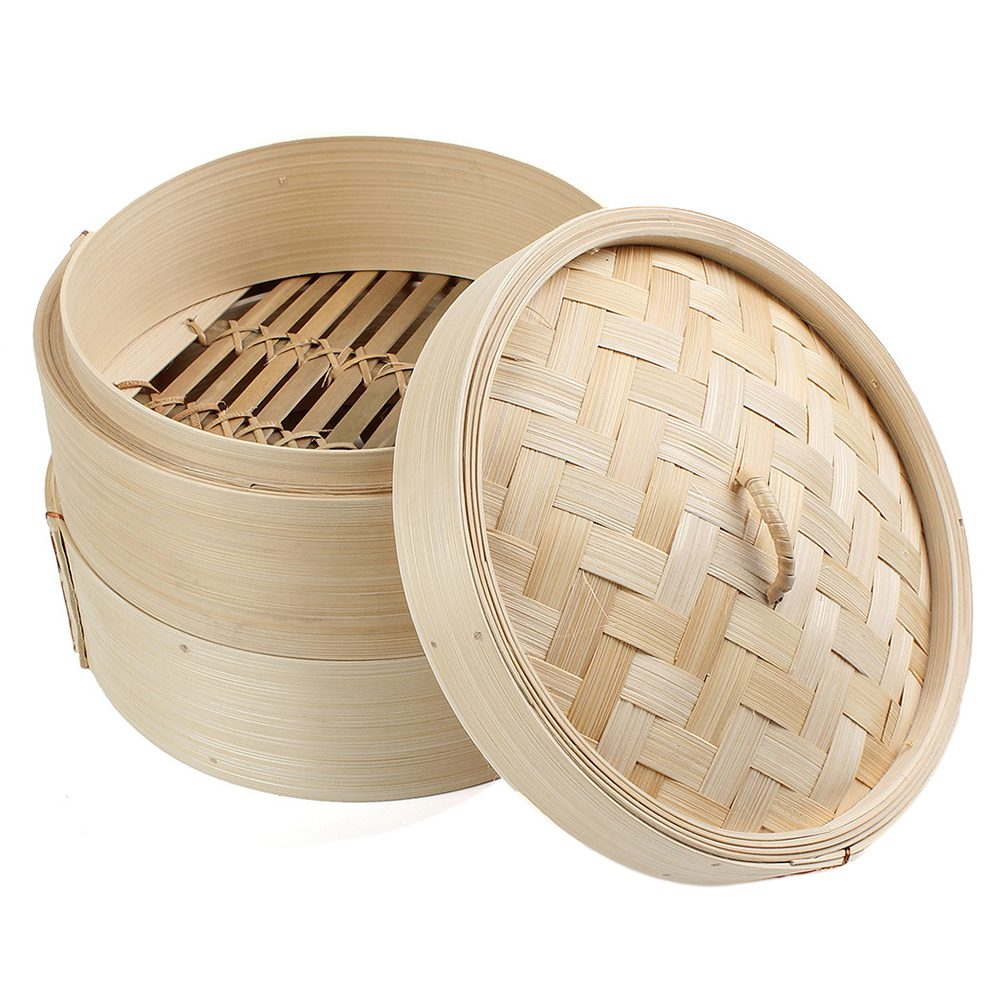 2 Tier 8 inch Bamboo Steamer Dim Sum Basket Rice Pasta Cooker Set with Lid