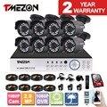 Tmezon 8ch ahd 1080 p dvr cctv 8 unids 1080 p 2.0mp cámara principal de vigilancia de seguridad cctv sistema de mal tiempo al aire libre kit de cámara de bala