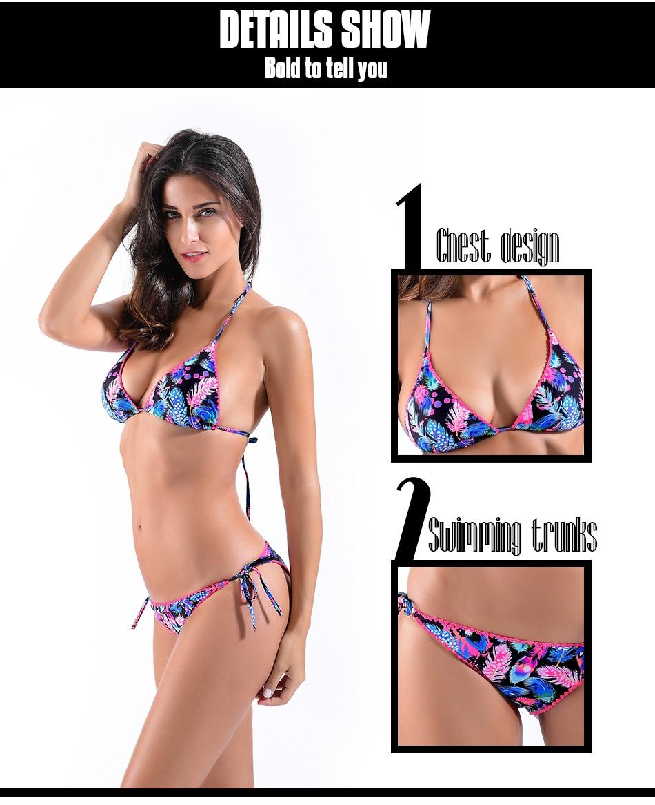New 17 Retro Sexy Floral Print Bikini Set Swimwear Womens Swimsuit Bathing Suit Beach High Quality Flower Bikinis Women 9