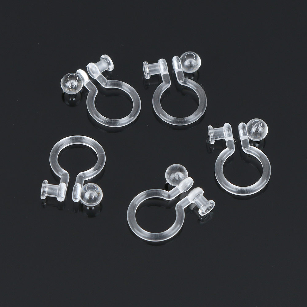400pcs Clip Back Earring Findings DIY Making Jewelry Ear Gift Plastic Earring Clip Component Hole 0.65 0.7 0.8 0.9mm