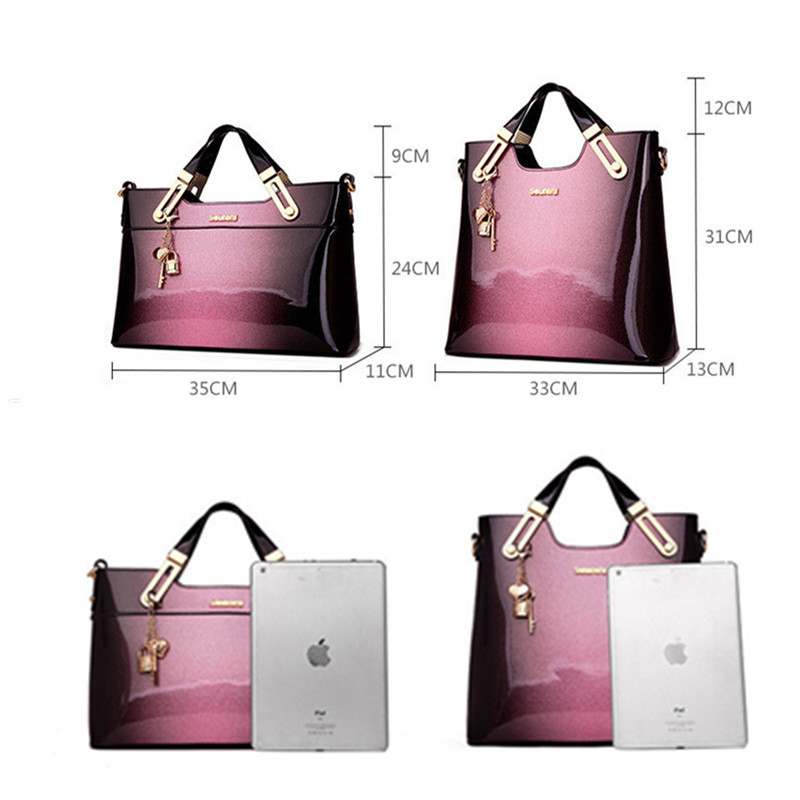 Organizer Women Leather Handbags Luxury Handbags Women Bags Designer Handbags High Quality Patent Leather Fashion Ladies Totes in Top Handle Bags from Luggage Bags