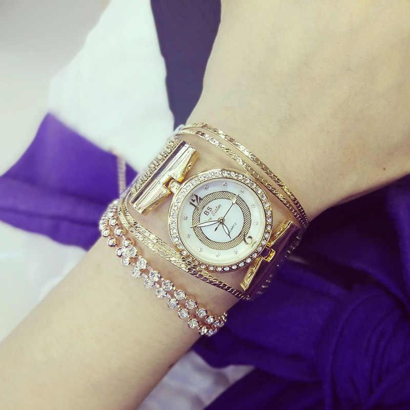 Marque femmes montres de luxe cristal or dames Quartz montres Bracelet en acier allié horloge Relogio Feminino Relojes ZDJ14