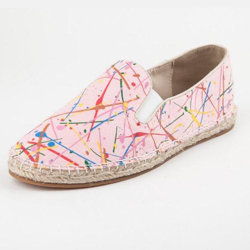 2017 primavera chica holgazán lienzo de graffiti de color femenino del caramelo plantilla zapatos casuales las
