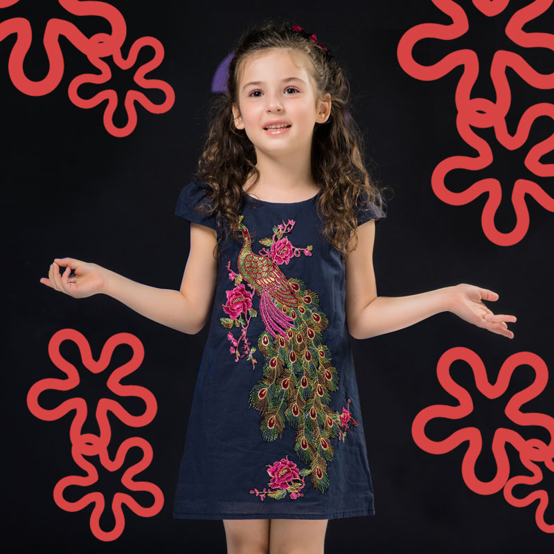 Baby Girls Clothing Christmas Dresses Kids Embroidery Princess Kid Peacock Prom Summer For