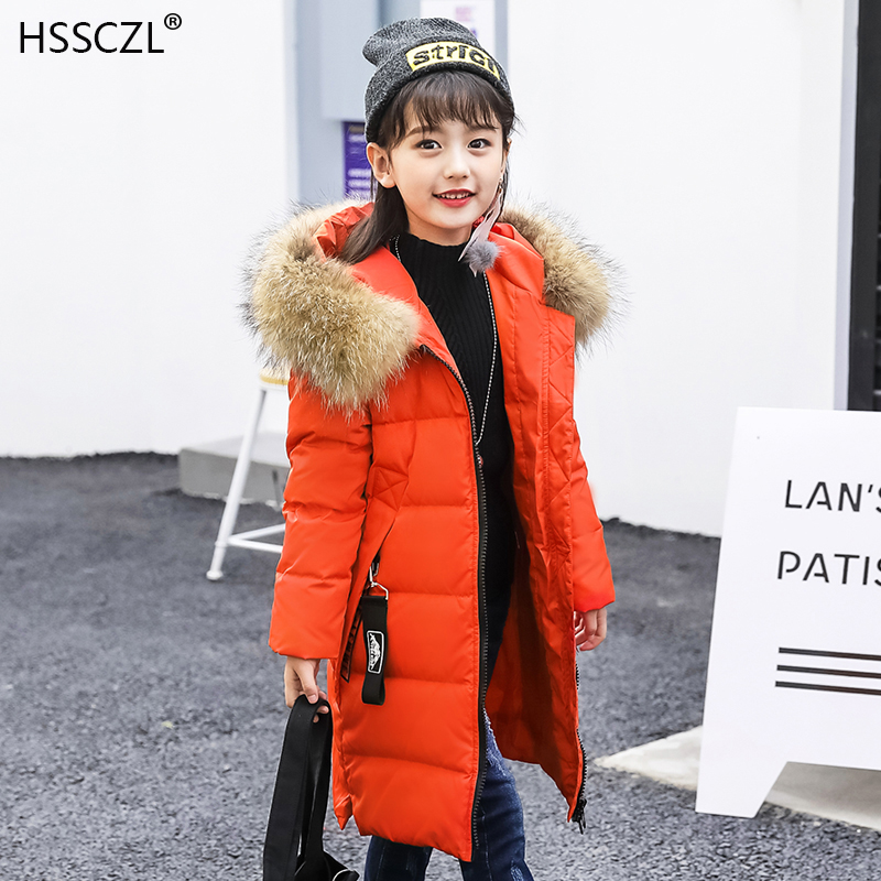 HSSCZL Girls Down Jacket 2018 New Winter Children Thicken Long Hooded Natural Fur Collar Parkas Coat Outerwear Overcoat 7-14A 2016 new hot winter thicken warm woman down jacket coat parkas outerwear hooded fox fur collar luxury slim mid long plus size xl