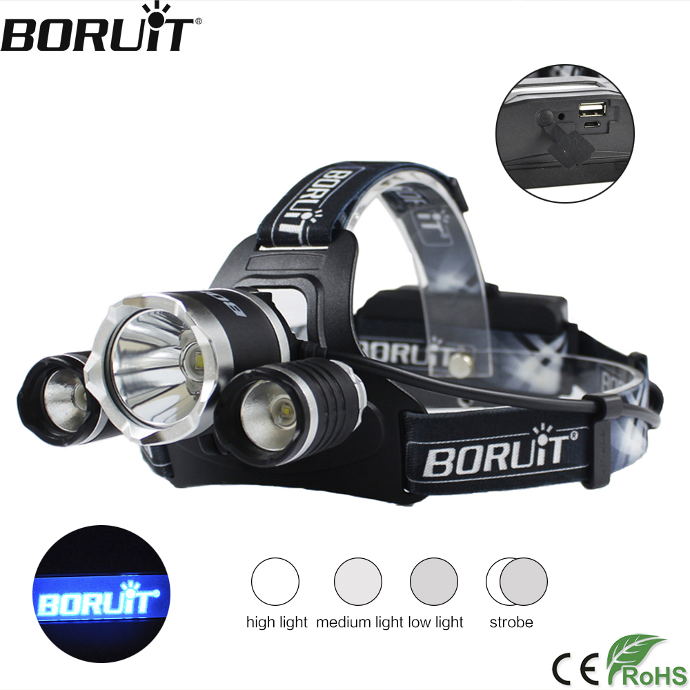 BORUiT B21 3000LM XPE XM-L2 LED Headlamp 4-Mode USB Charger Headlight Power Bank Head Torch Camping Hunting Flashlight