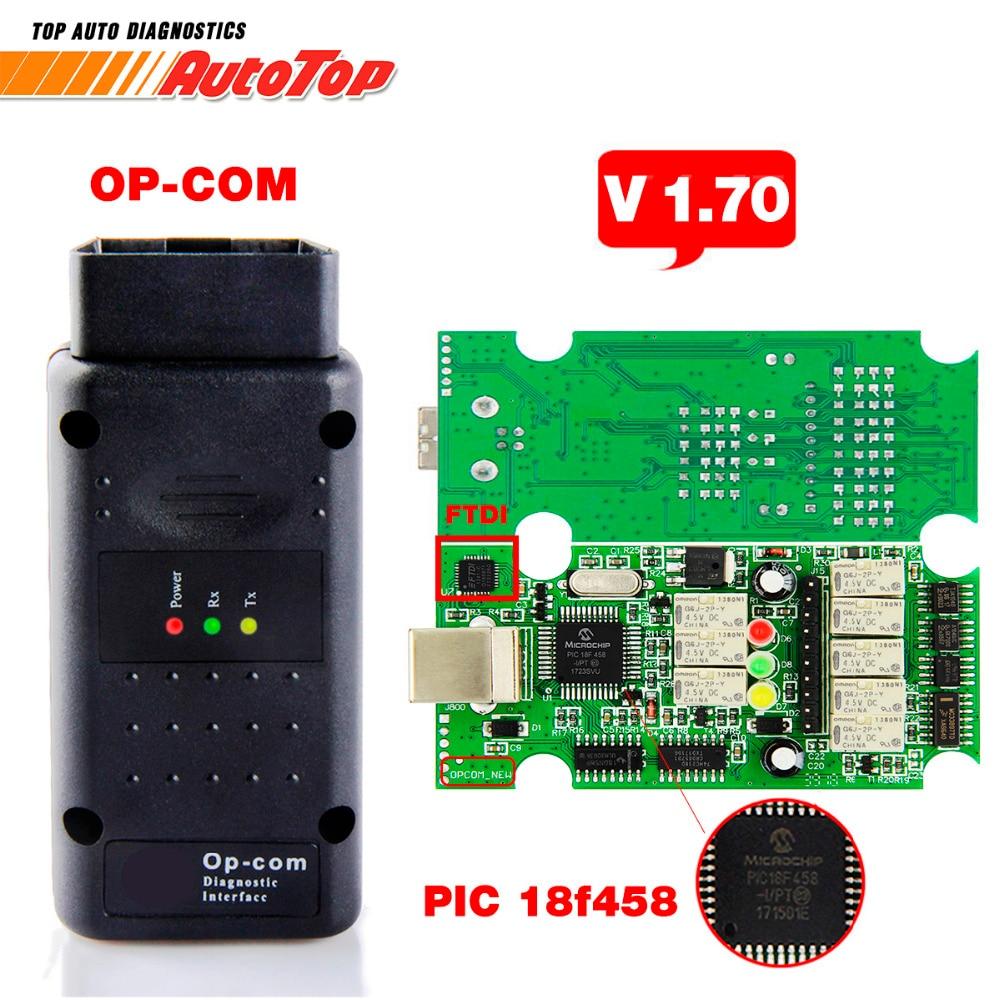 Beste OP COM ODB 2 V1.70 OP COM V5 Autoscanner OPCOM voor OPEL Firmware V 1.70 Met PIC18F458 OP-COM voor opel OP COM OBD2 Scanner