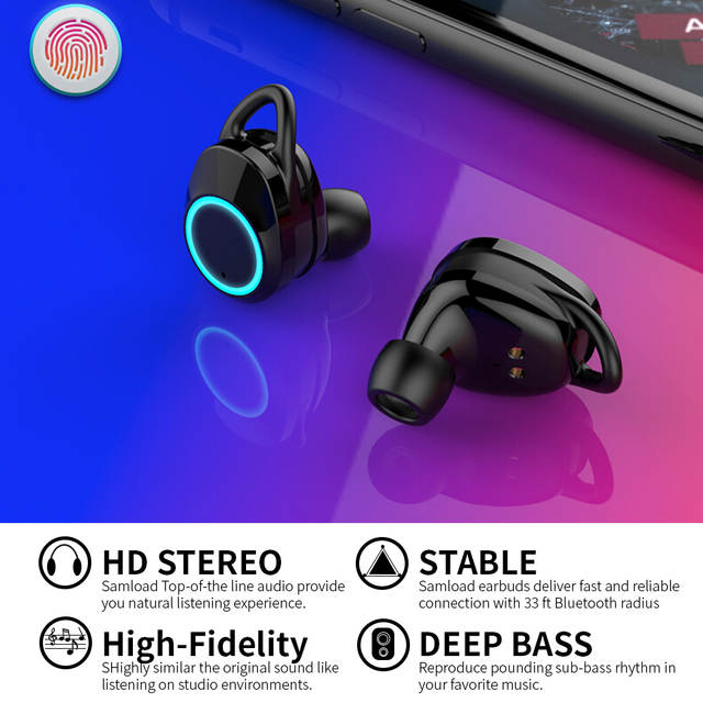 US $35 03 38% OFF|Samload Bluetooth 5 0 Wireless Earphone Deep bass Earbuds  Waterproof Headphone with Charging Box For Apple iPhone 6 7 8 X Sony -in