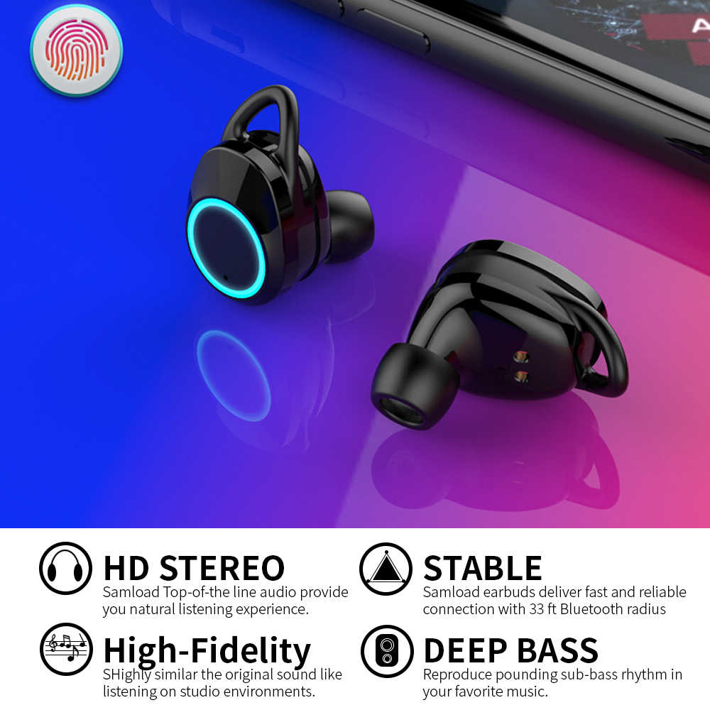 878549cd661 ... Samload Bluetooth 5.0 Wireless Earphone Deep bass Earbuds Waterproof  Headphone with Charging Box For Apple iPhone ...