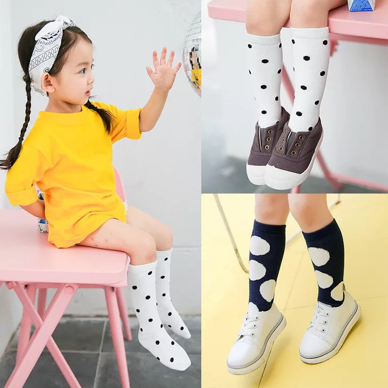New-autumn-socks-Kids-Long-Socks-Knee-High-toddler-Girls-Boot-Sock-Leg-Warmer-Cute-Dot-Black-baby-Cotton-Sock-for-baby-girls-1