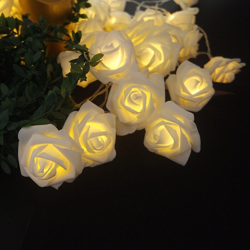 Garland com Luz Quarto do Bebê Medidor de 5 Led para Festa de Casamento 40 Rose Evento Decoração Luz Luz Floral Decortive Luz da Noite