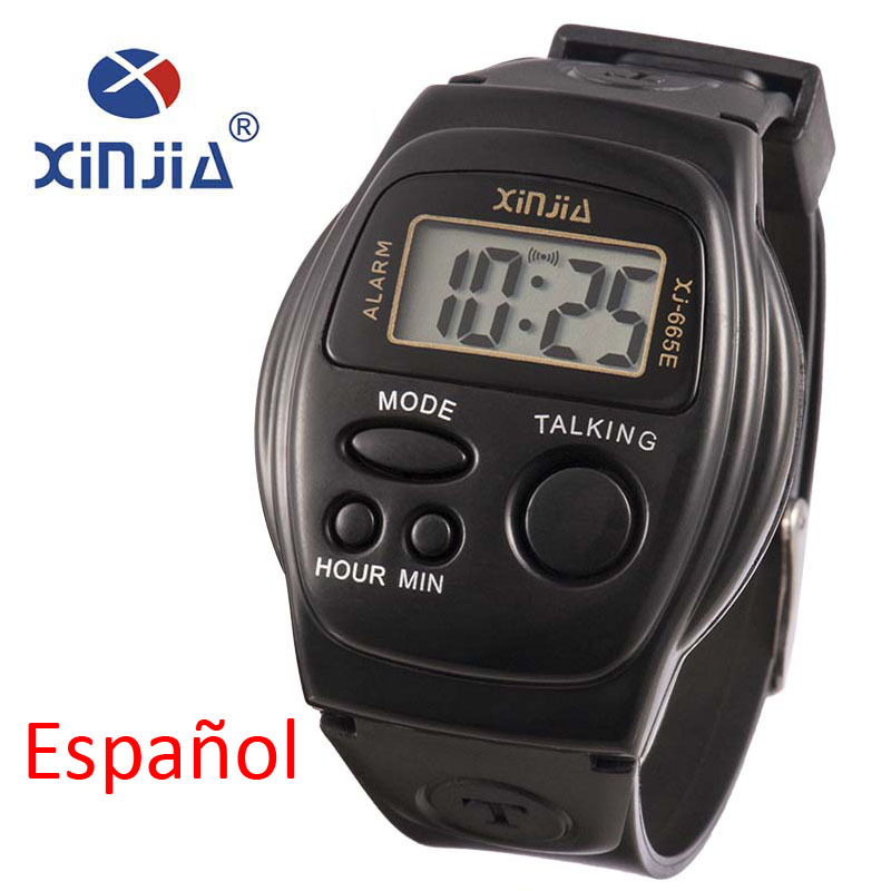 New Simple Old Men And Women Talking Watch Speak Spanish Blind Electronic Digital Sports WristWatches For