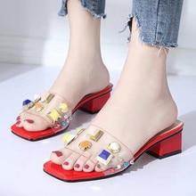 Zapatos de mujer zapatos de remache zapatillas mujer Zapatillas transparente  diapositivas casuales sandalias de verano 2018 8cc0464b22a2
