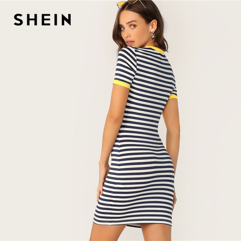 SHEIN Pocket Patched Striped Ringer Tshirt Casual Dress Women's Shein Collection