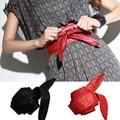 Mulheres moda Senhora Bowknot Vincular Cinto Largo de Couro Das Mulheres Arco Obi Cinto Elegante Compoteira Cintura Banda