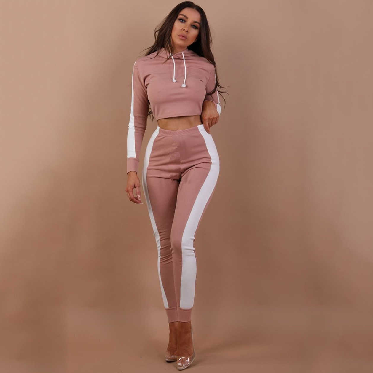 3f7194c5f8c Detail Feedback Questions about Two piece set Women workout Fashion  tracksuit Long Sleeve Crop Top Hooded Kpop Hoodies Pants Striped Casual  Bodycon 2 piece ...
